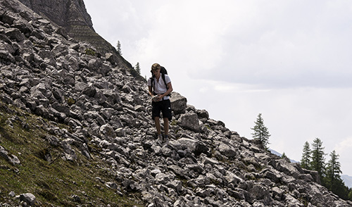 Carrying the stone down from the mountain